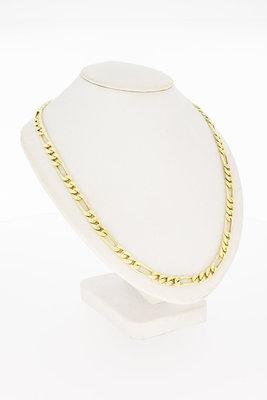 14 Karaat geel gouden Figaro schakelketting - 51 cm