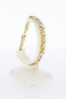 14 Karaat bicolor gouden platte Koningsarmband - 23 cm