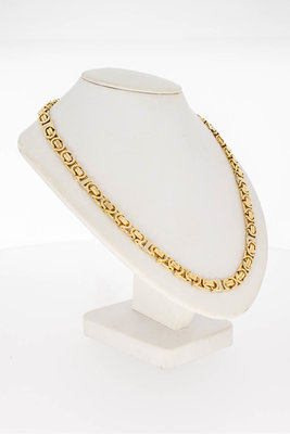 14 Karaat geel gouden platte koningsarmband - 62,5 cm