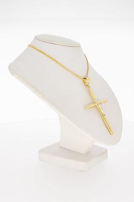 14 Karaat bicolor gouden kettinghanger - Kruis
