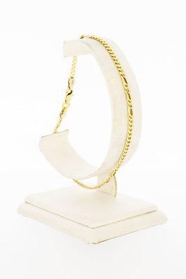 14 Karaat gouden combi Valkoog schakel armband - 22 cm