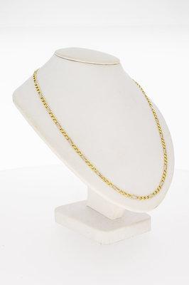 14 Karaat geel gouden Figaro schakelketting - 64 cm
