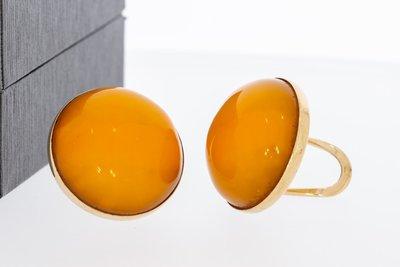 14 Karaat geel gouden Oorclips gezet met gele Barnsteen