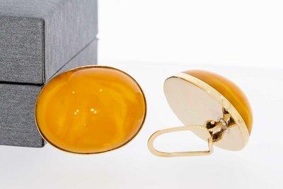 14 Karaat geel gouden ovale Oorclips met gele Barnsteen