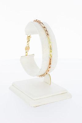 14 Karaat bicolor gouden koord schakelarmband - 19,5 cm