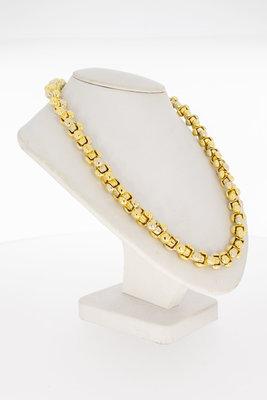 18 Karaat bicolor gouden Baraka style schakel Collier - 45 cm