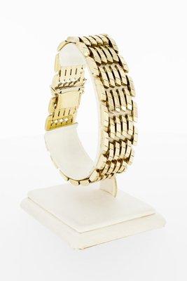 14 Karaat brede gouden staafjes schakelarmband- 20,1 cm