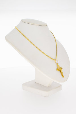 14 Karaat geel gouden kettinghanger - kruisje