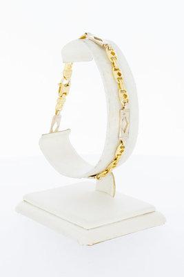 18 Karaat bicolor gouden platte Koningsarmband - 21 cm