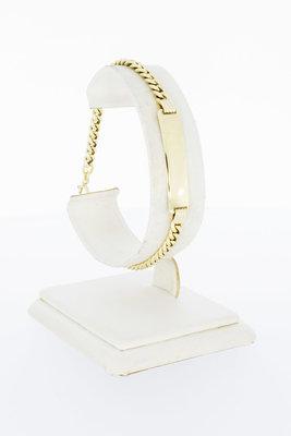 14 Karaat gouden Gourmet armband met naamplaat -19,8 cm