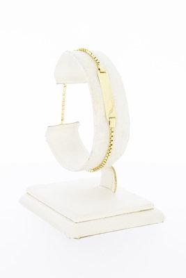 14 Karaat gouden Venetiaanse armband met naamplaat-18,5 cm