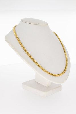 18 Karaat geel gouden gevlochten schakel Collier- 54,3 cm