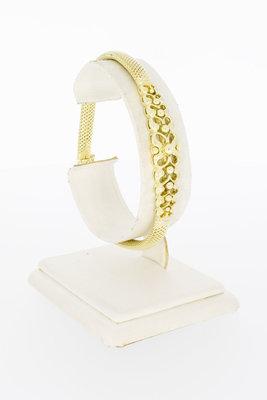 14 Karaat geel gouden Fantasie schakelarmband- 19,5 cm