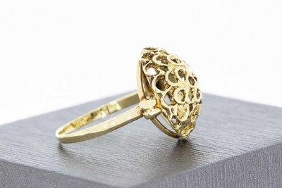 14 Karaat geel gouden Fantasie Filigrain Markies ring