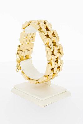18 Karaat gouden brede staafjes schakelarmband - 20,5 cm