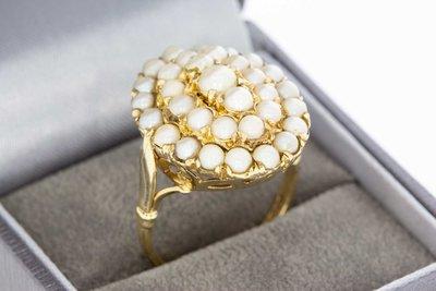 9 Karaat (geel) Zeeuwse Knoop Ring gezet met Cultivé Parel