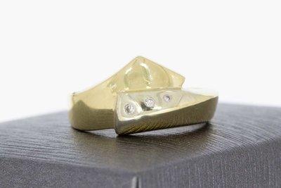 14 Karaat bi- color gouden Slagring gezet met Diamant