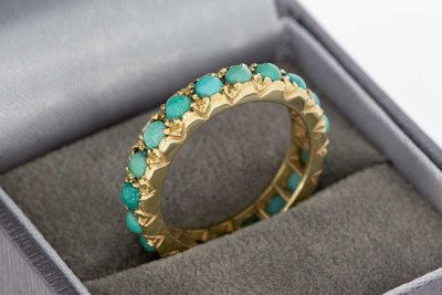 14 Karaat geel gouden Rij- ring gezet met Turkoois