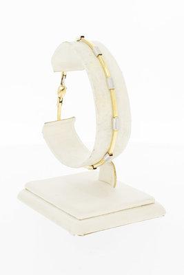 14 Karaat bicolor gouden Staafjes schakelarmband - 19 cm