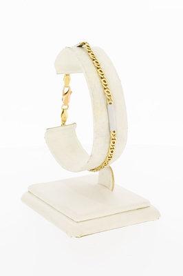 14 Karaat bicolor gouden Valkoog Plaatjes armband- 19,8 cm