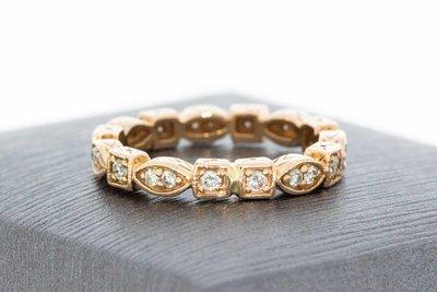 14 Karaat geel gouden gefigureerde Rij- ring met Diamant