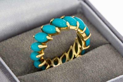 18 Karaat geel gouden Rij- ring gezet met Turkoois