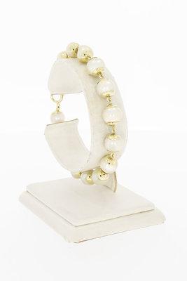 14 Karaat geel gouden Cultiv' Parel schakelarmband- 19 cm