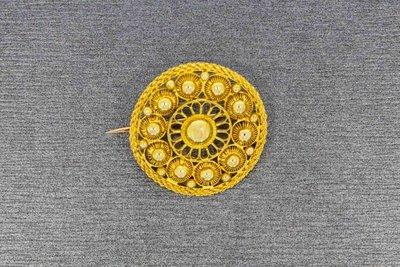 14 Karaat geel gouden Filigrain Zeeuwse Knop Broche