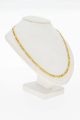 18 Karaat geel gouden Figaro schakel Collier - 47,2 cm