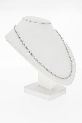 18 Karaat witgouden vierkante Gourmet ketting - 53 cm