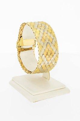 18 Karaat gouden brede gefigureerde schakelarmband- 18 cm