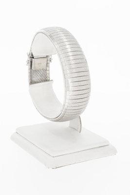 18 Karaat wit gouden brede schakelarmband - 19,1 cm