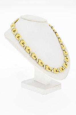 18 Karaat bicolor gouden platte Konings- Collier - 43 cm