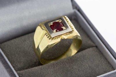14 Karaat bicolor gouden Zegelring gezet met Robijn
