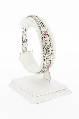 18 Karaat witgouden armband met roze Saffier- 19,3 cm