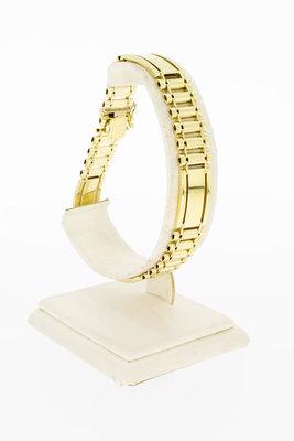 14 Karaat gouden brede armband met bakslot - 21,5 cm