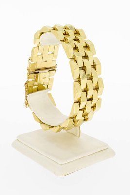 "14 Karaat gouden brede ""Tank"" Staafjes armband- 20,3 cm"