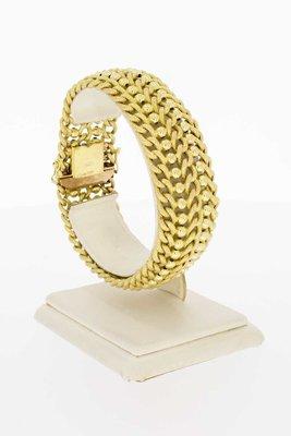 14 Karaat geel gouden brede gevlochten armband - 19,9 cm
