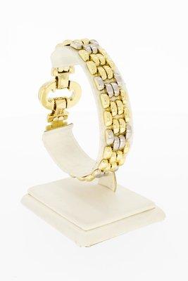 14 Karaat bicolor gouden Staafjes schakelarmband - 20,5 cm.