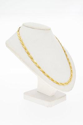 18 Karaat geel gouden 3 rij-ig gevlochten Collier - 41,2 cm