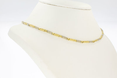 14 Karaat bicolor gouden Staafjes schakel Collier- 46,4 cm