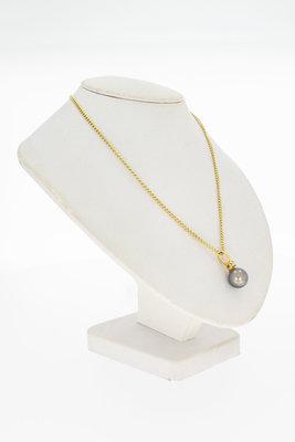 14 Karaat gouden Kettinghanger met Tahiti Parel en Diamant