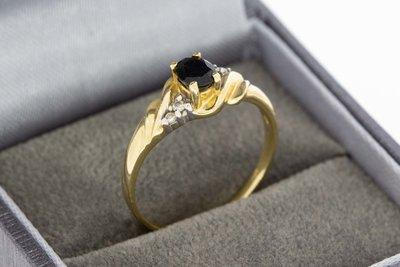 14 Karaat bicolor gouden Ring met Saffier en Diamant
