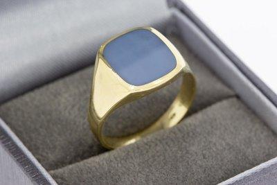 14 Karaat geel gouden Zegelring met blauwe Lagensteen
