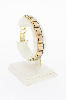 14 Karaat bicolor gouden Plaatjes armband - 19,2 cm