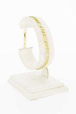 18 Karaat geel gouden Figaro schakelarmband - 18,8 cm