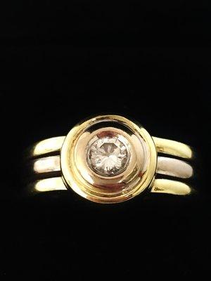 14 K Bicolor Gouden Diamant ring 0.22 crt