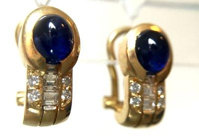 18 Karaat gouden Oorbellen gezet met Saffier & Diamant
