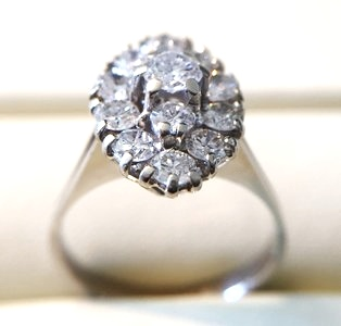18 Karaat witgouden Markies ring gezet met Diamant (1.5 crt)