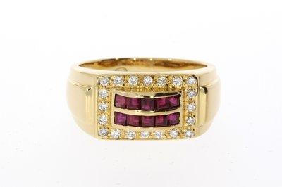 18 K Gouden Bandring Robijn / Briljantgeslepen Diamant
